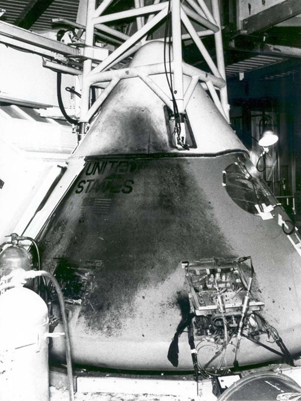 Yangının ardından Orion 1 kapsülü.