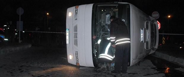 İşçi servisi kaza yaptı: 14 yaralı