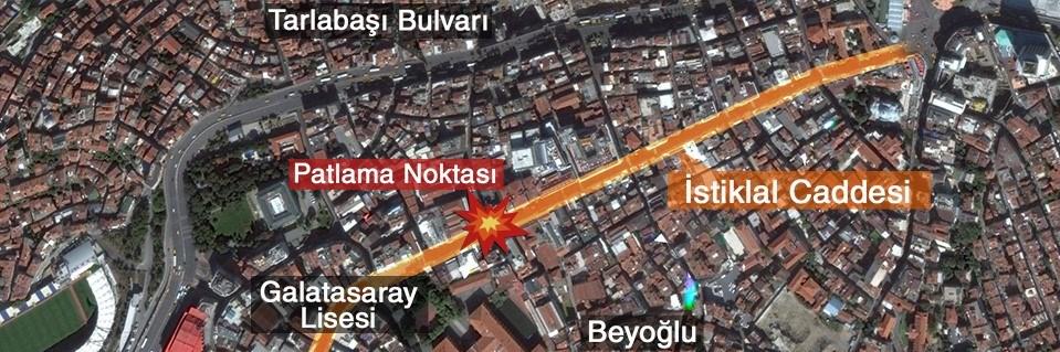 İstiklal Caddesi'nde bir alışverişveriş merkezinin önünde saat 10.55'te şiddetli patlama yaşandı.