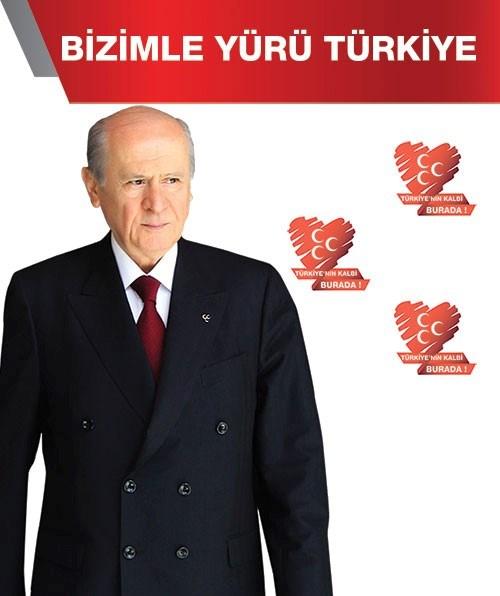 MHP'nin kurultay afişindede kalp görselikullanıldı.
