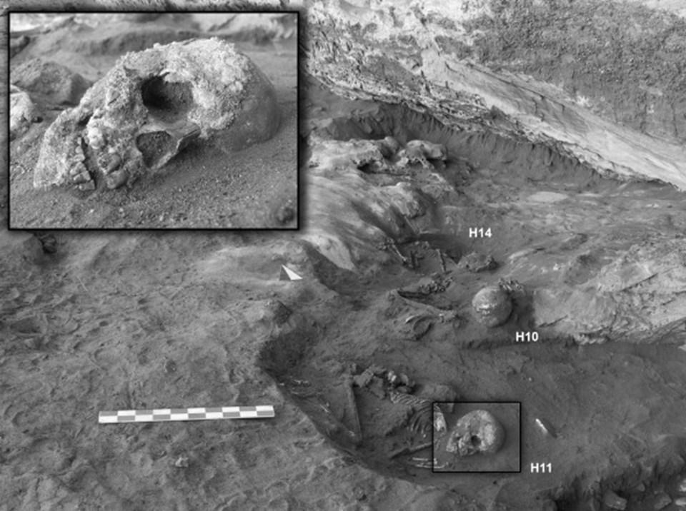 Mağaranın içinde bulunan kemiklerden bir kısmı.