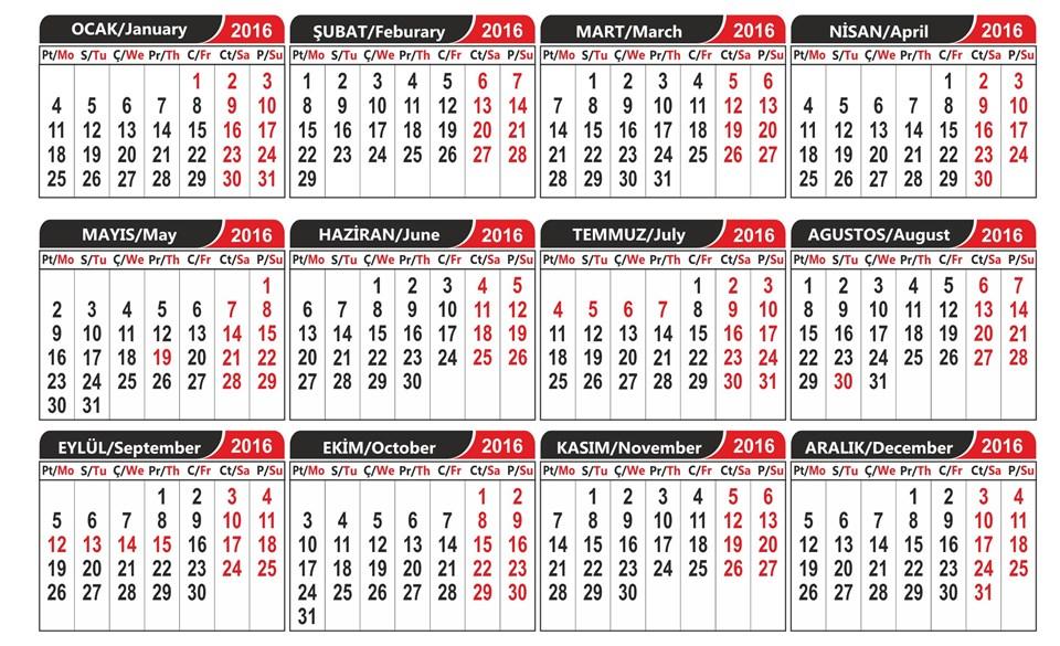 Temmuz'un ilk haftası Ramazan, Eylül'ün ikinci haftası Kurban bayramıtatili... (Takvim görünümü)