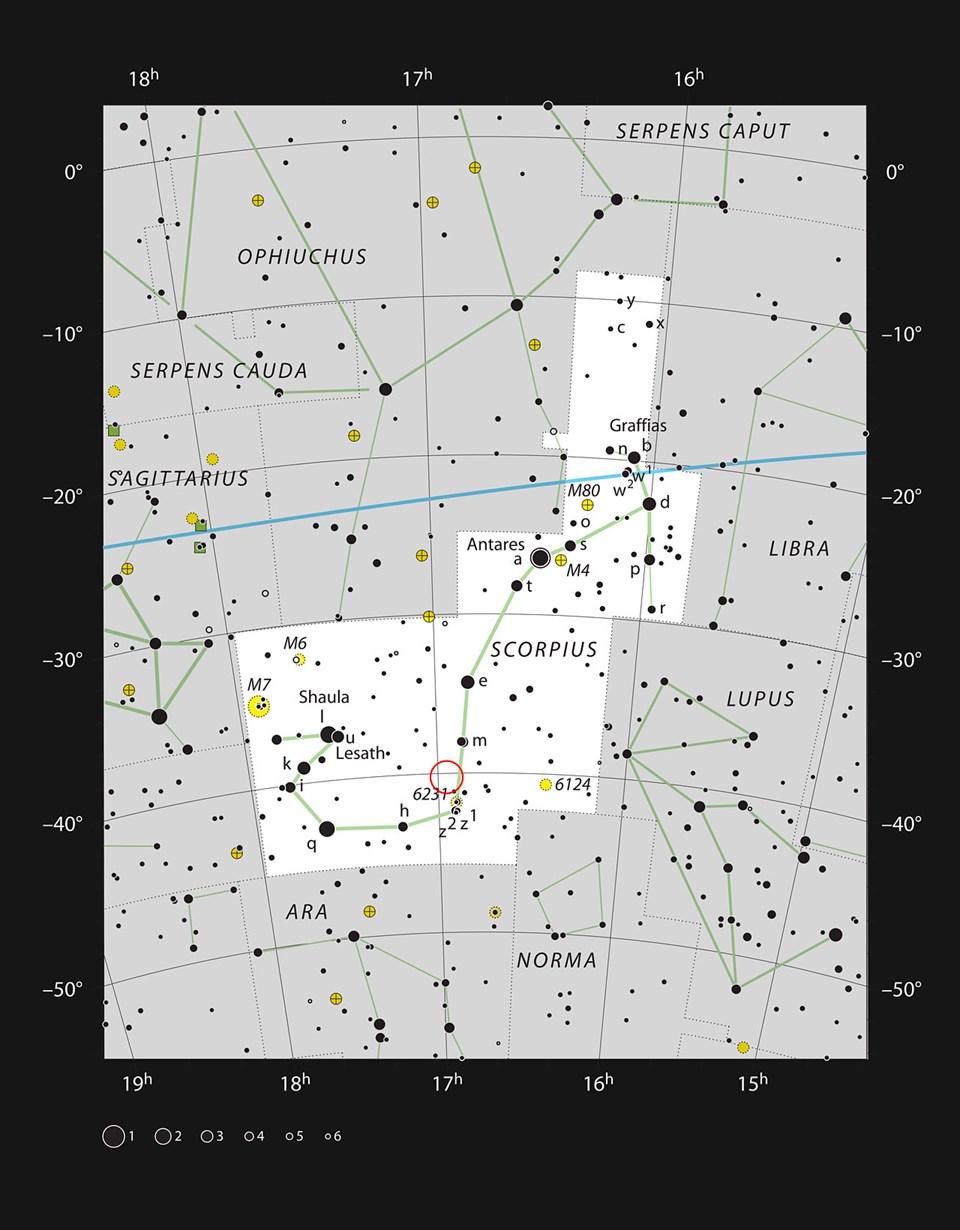 Akrep Takımyıldızı'ndaki Karides Nebulası IC 4628'in konumu (Büyütmek için tıklayın).