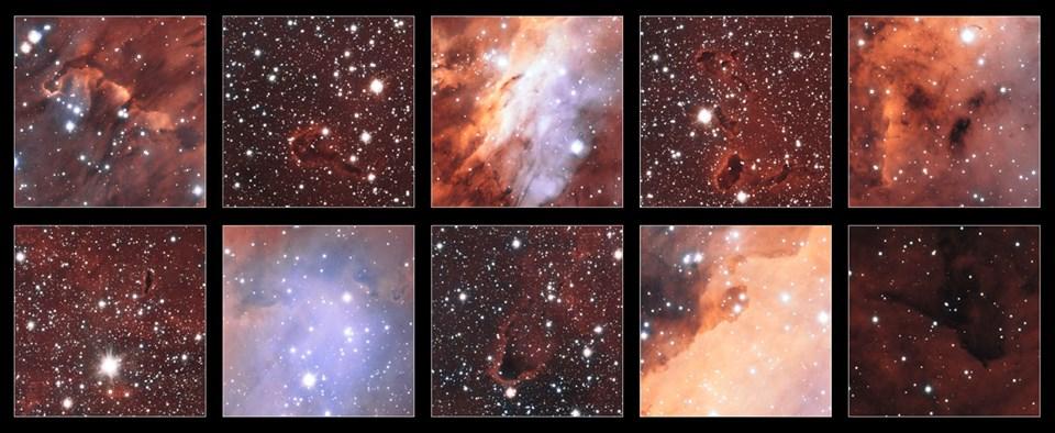 VST teleskobu tarafından elde edilen Karides Nebulası'na ait farklı görüntüler (Büyütmek için tıklayın).