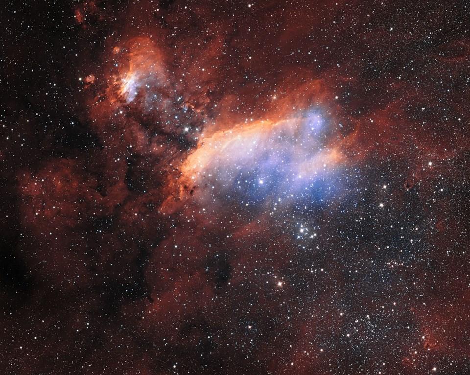 VST teleskobundan Karides Nebulası'nın detaylı görünümü (Büyütmek için tıklayın).