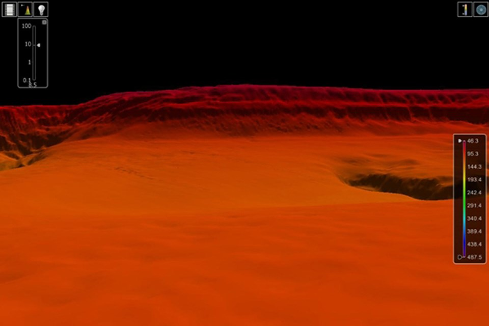 Kızıl Deniz'in altındaki kanyona ait bir sonar görüntü (Büyütmek için tıklayın).