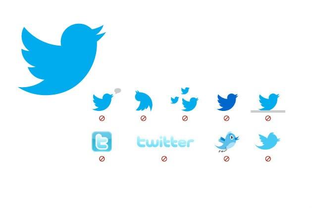 Yasaklanan Twitter logoları.