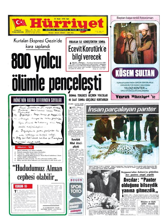 """1974'te Beypazarı'nda öldürülen leoparın haberi gazetede """"İnsan parçalayan panter"""" başlığıyla yer almıştı."""