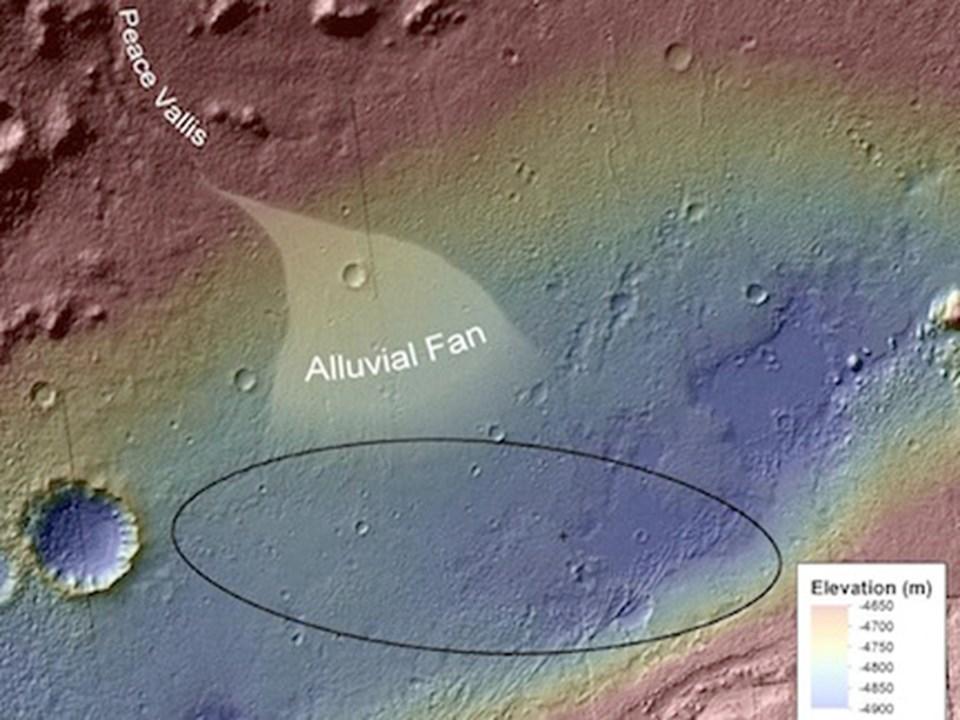 Alüvyon yelpazesi yüksek bir noktadan kraterin aşağılarına ilerliyor.