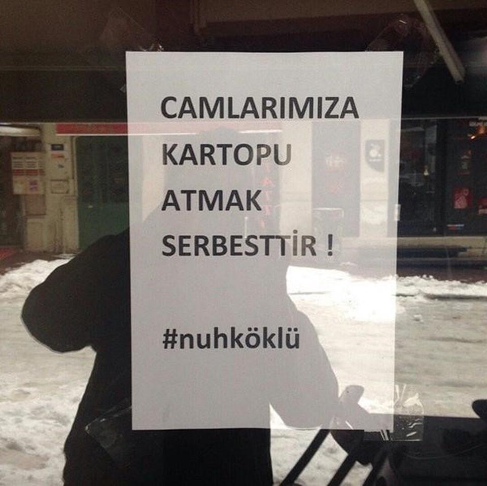 Beyoğlu esnafı başta olmak üzere, İstanbul'un çeşitli yerlerinden kartopu kavgasında ölen Nuh Köklü'ye destek geldi. Twitter/@saatoldu