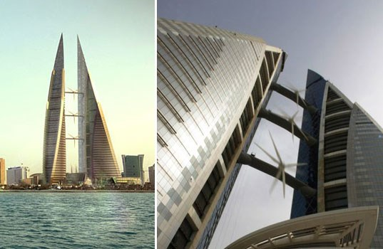 Bahreyn'deki bu gökdelen de enerjisinin büyük bir kısmını rüzgardan elde ediyor...
