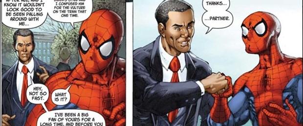Obama ve Örümcek Adam el ele