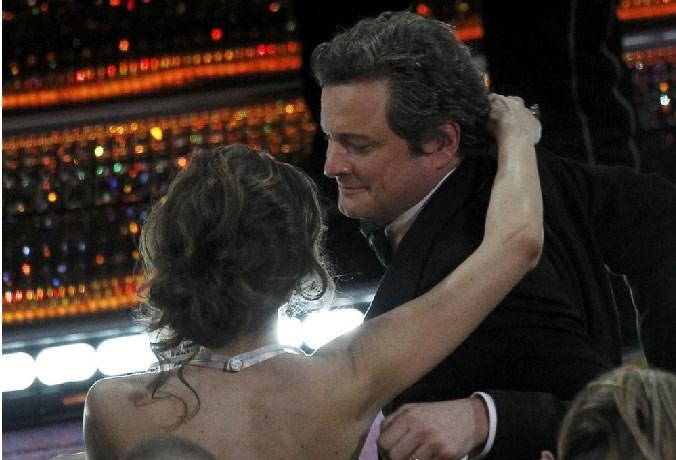 Firth'ün Oscar'da adının açıklandığı an.
