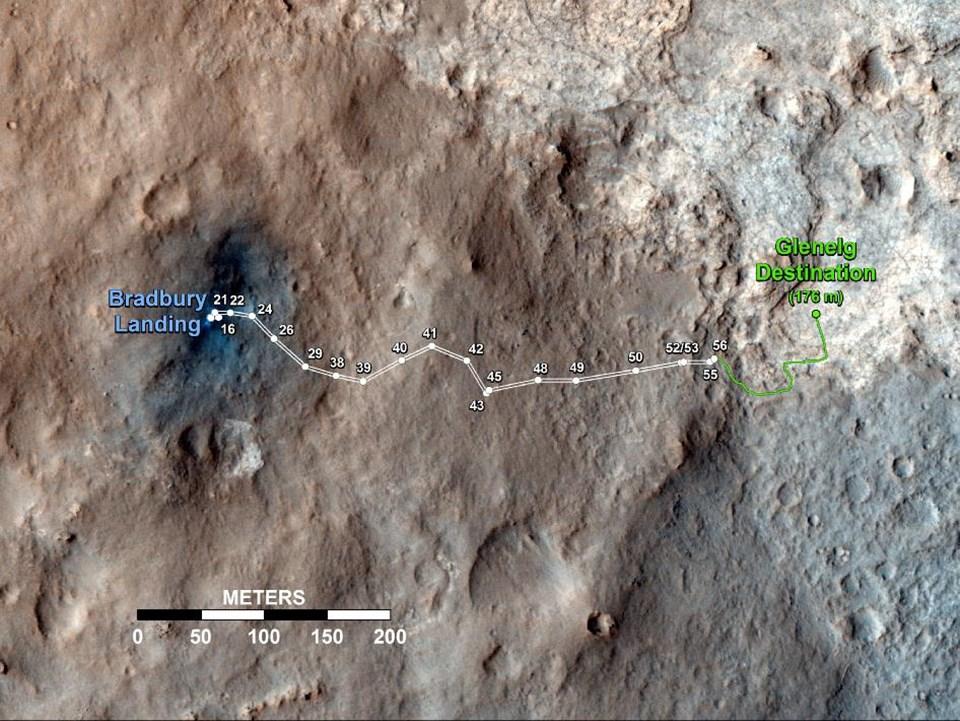 Curiosity'nin Glenelg noktasına izlediği güzergah.