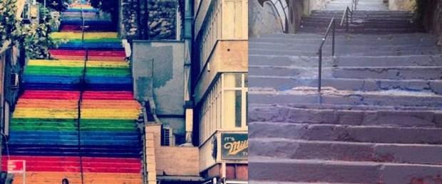 Renkli merdivenler yeniden griye boyandı