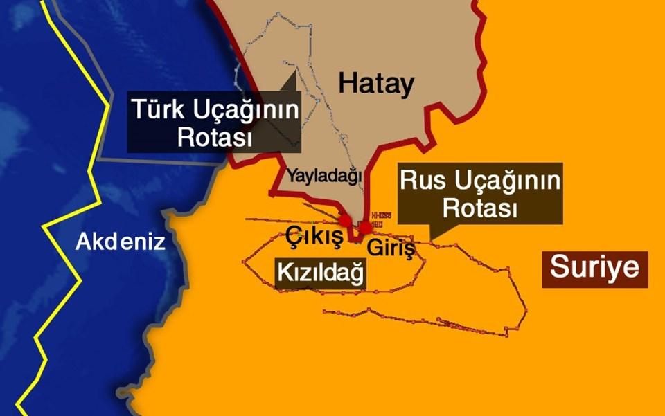 Genelkurmay radar izini açıkladı. Görüntüde mavi çizgi Türkiye sınırını, kırmızı çizgi ise Rus savaş uçağının izlediği rotayı gösteriyor.