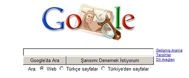 Sabiha Gökçen Google ana sayfasında