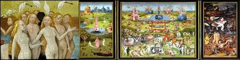 Hieoronymous Bosch'un Dünyevi Zevkler Bahçesi adlı tablosu ve detayı.
