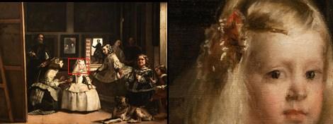 Velazquez'in Las Meninas adlı tablosu ve detayı.