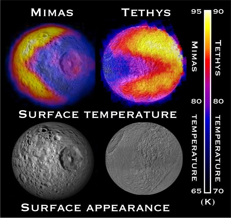 Cassini'nin kızılötesi detektörüyle elde edilen termal görüntüler.