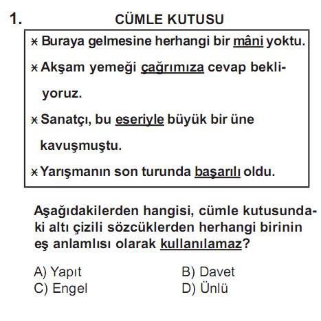 SBS 7. Sınıf Türkçe Soruları