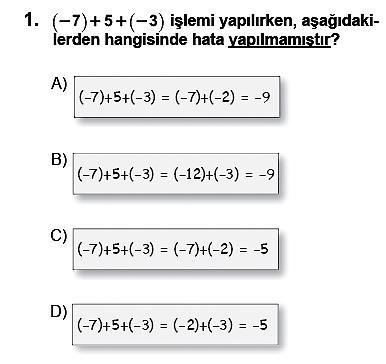 SBS Matematik Soruları 7. sınıf