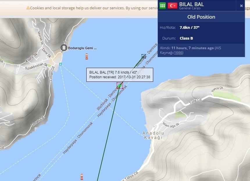 Geminin gece Karadeniz'e açılışını gösteren deniz trafik haritası.