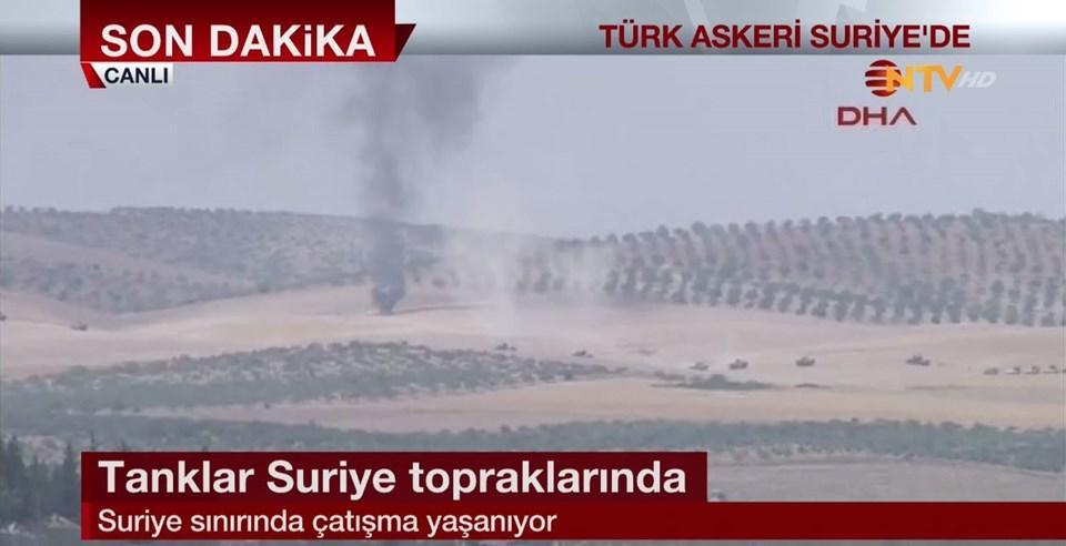 20 kadar tank, Suriye sınırının 1 km kadar içine girerek IŞİD hedeflerini vurmaya başladı.