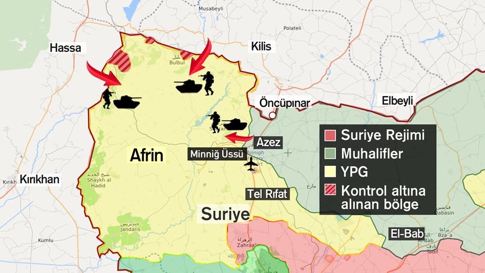 Afrin'de ele geçirilenbölgeler