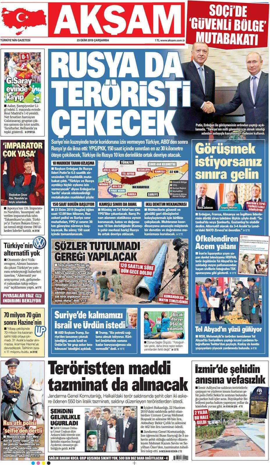Türkiye - Rusya mutabakatı manşetlerde