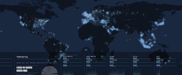 Twitter'ın gerçek zamanlı haritası çıkarıldı