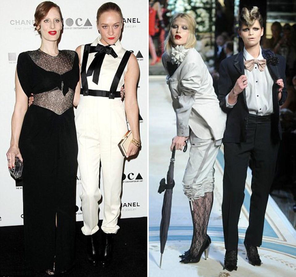Aktris ve tasarımcı Chloe Sevigny yakasız gömleğini papyon ve pantolon askısıyla tamamladı. Dree Hemingway ve Pixie Geldof Lanvin for H&M'nin geçidinde takım elbise giydiler.