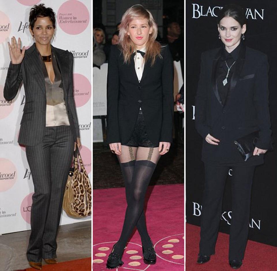Halle Berry takım elbiseyle Los Angeles'ta, Ellie Goulding papyon ve smokinle Burlesque'nun Londra galasında, Winona Ryder Black Swan'ın New York galasında