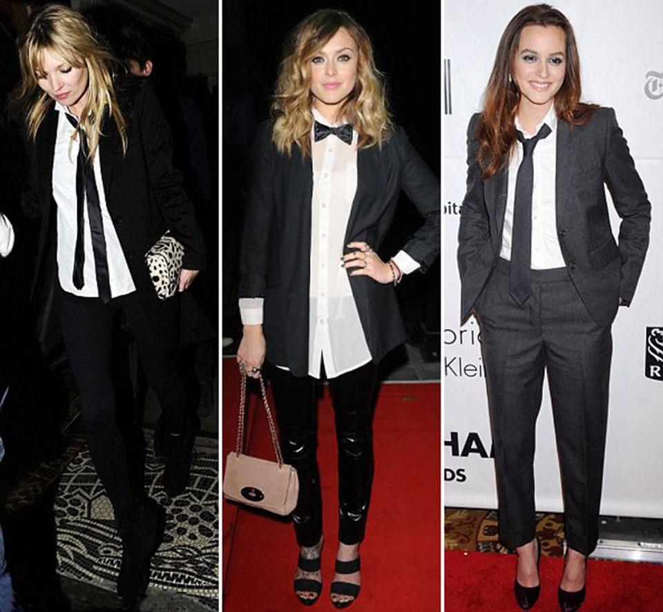 Kate Moss Londra'daki Soho'dan ayrılırken ince kravatı ve blazer'ı ile tam bir moda ikonu gibi görünüyordu. Belki de erkek arkadaşı Jamie Hince'ın gardırobundan yardım almıştır…