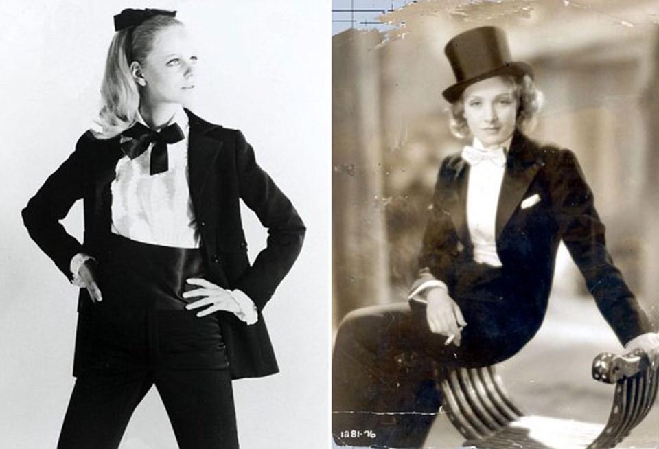 Yves Saint Laurent'in 1966 tarihli ikonik Le Smoking elbisesi ve otuzlarda aktris Marlene Dietrich