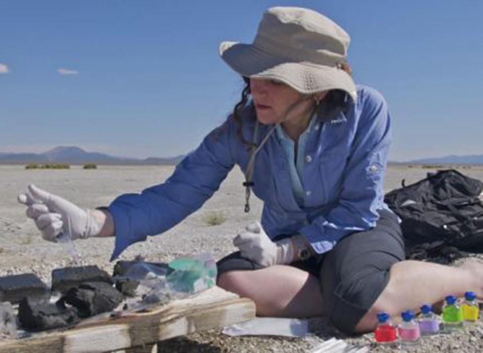 Dr Felisa Wolfe-Simon, garip yaşam formunun bulunduğu Mono Gölü çamurlarında örnekleme yapıyor.
