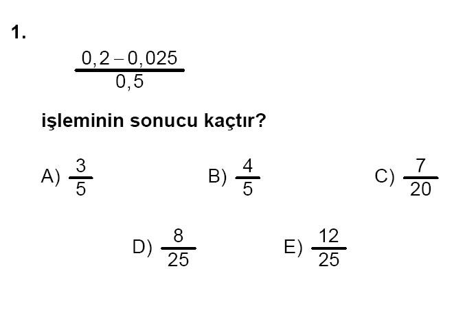 YGS Matematik soruları ve yanıtları