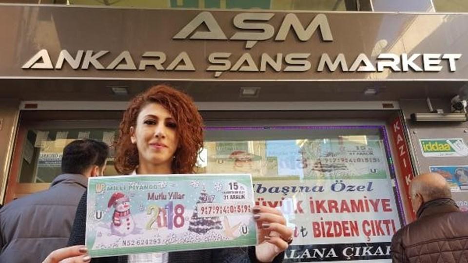 Büyük ikramiyenin çıktığıAnkara Şans Market'inişletmecisiİnci Çıplak.