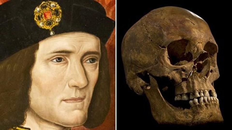 32 yaşında ölen kralın eski bir portresi (solda) ve bulunan kafatası (sağda).