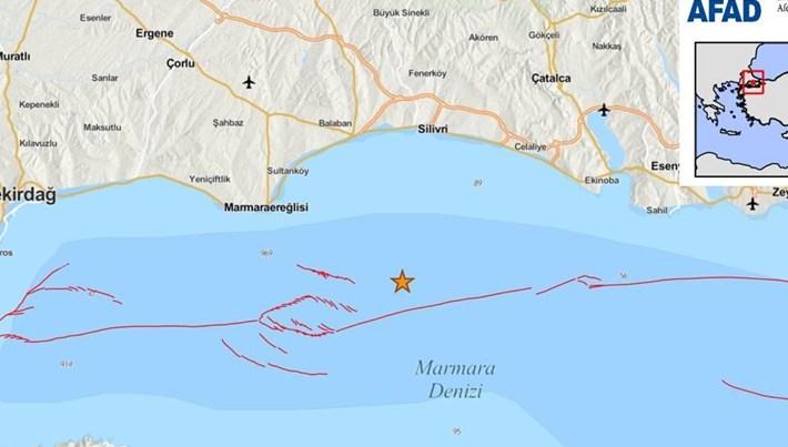Marmara Denizindeart arda iki deprem