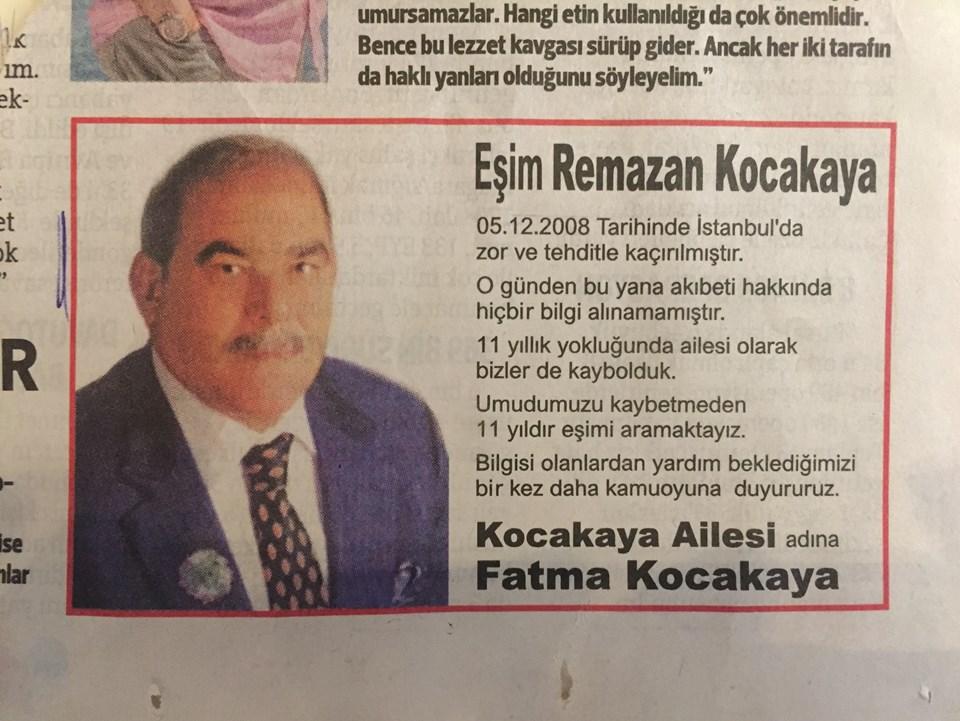 Gazeteye verilen ilan.