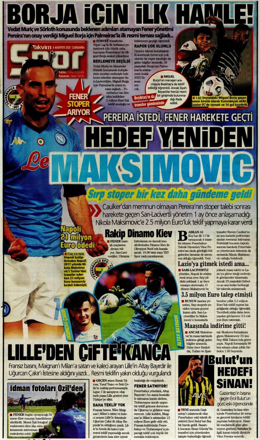 Günün spor manşetleri (4 Ağustos 2021) - 14