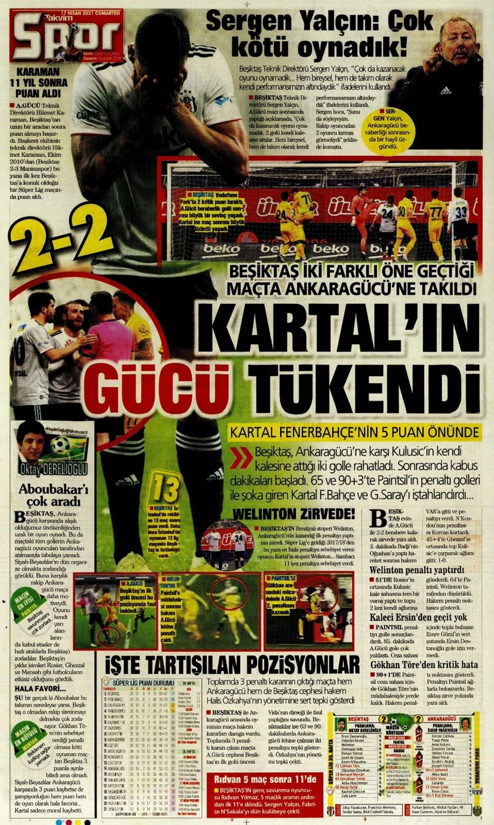 Günün spor manşetleri (17 Nisan 2021) - 21