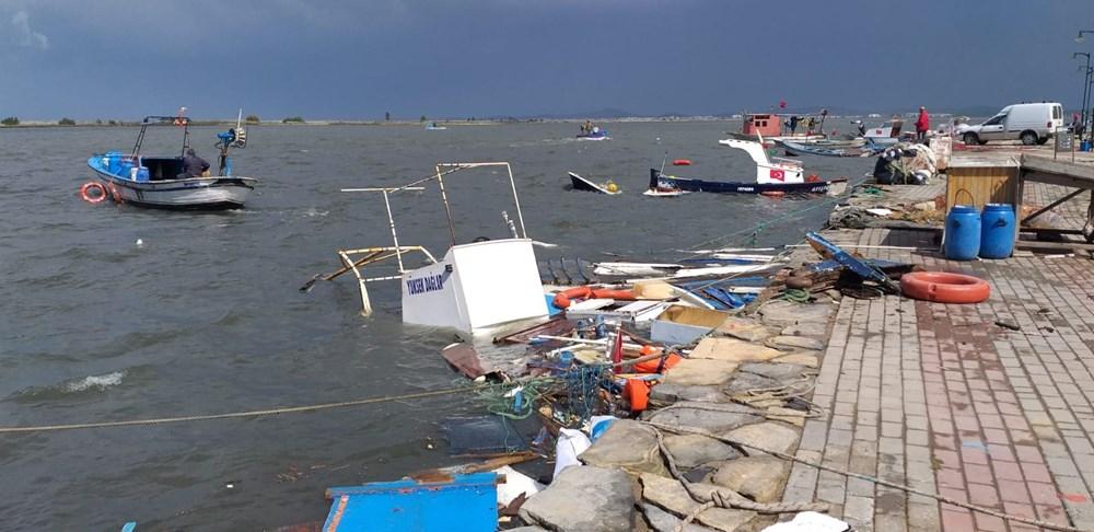 Balıkesir Ayvalık'ta fırtına: 20 tekne battı - 10