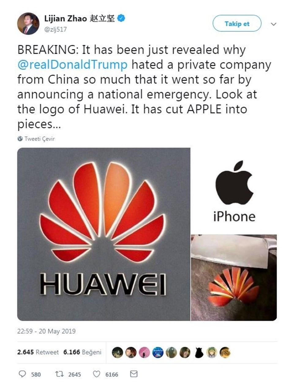 İşte Çinli diplomatın Apple cihazıyla attığı o tweet. Huawei logosu=dilimlenmiş elma.