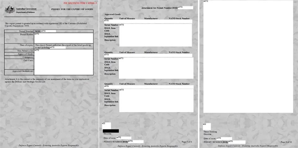 Avustralya'nın basınla paylaştığı silah satışlarına verilen onay emirleri