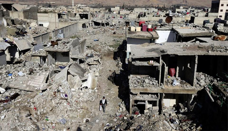 Şam'ın harabeye dönen Duma mahallesi.