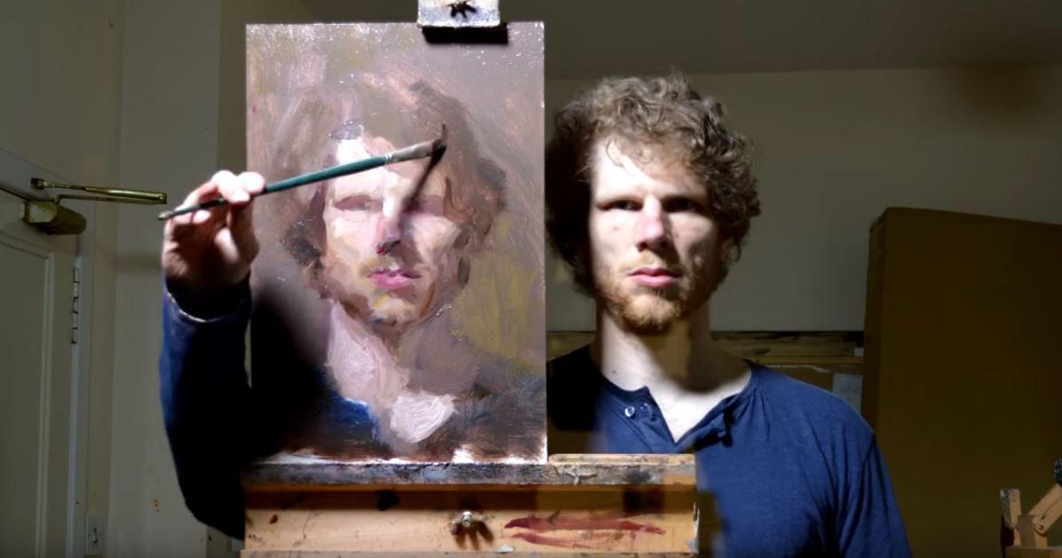 Kendi Resmini çizen Yetenekli Ressam Video