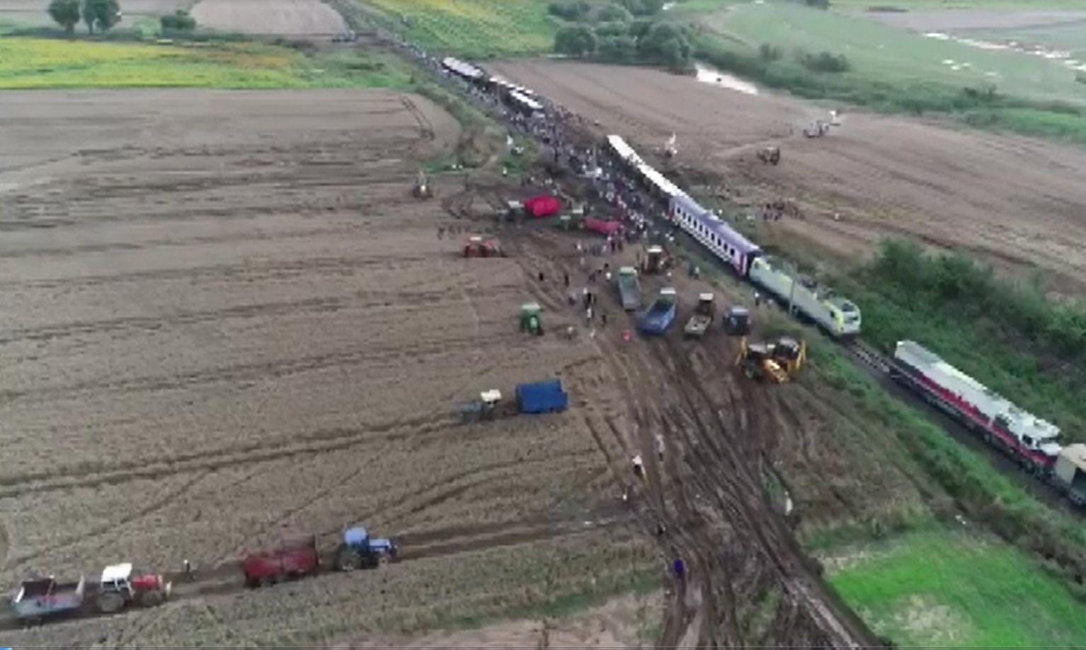 Tekirdağ çorludaki Tren Kazasının Yaşandığı Bölge Havadan