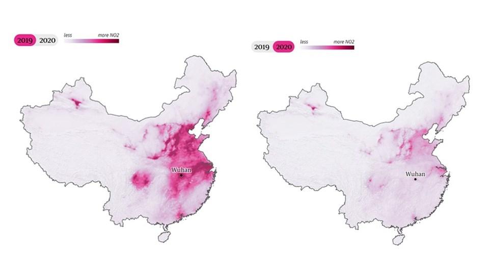 Çin'deki hava kirliliği oranı uydu fotoğraflarına böyle yansıdı